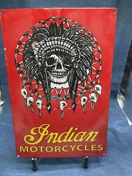 Large Vintage Indian Motorcycles Heavy Porcelain Sign Gas And Oil 16.5andrdquox11andrdquo