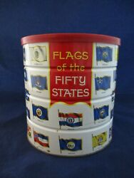 Vintage 1970 Hills Brothers Flags Of The 50 Fifty States Tin Coffee Can 56