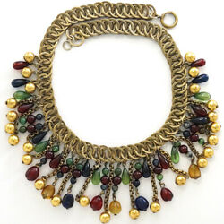 French Gripoix Golden Globes And Tricolour Poured Glass Beads Necklace