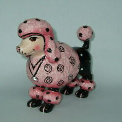 WhimsiClay Pretty in Pink Poodle figurine free poodle pin $12 value so cute