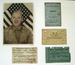 Wwii Bandw Picture Of Soldier Sgt. Elmer Nixon W/ Meal Pass Driverand039s Permit