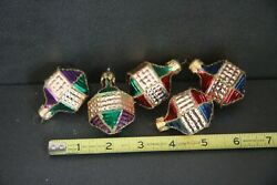 Vintage Lot 3 Glass Ornaments Poland Gold Green Pink Blue Christmas Handpainted