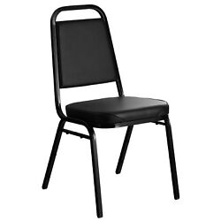 50 Black Stackable Banquet Chairs With 2 Padded Vinyl Seat Wedding Venue Party