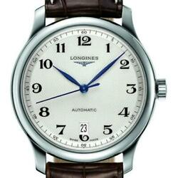 Longines Automatic Master Silver Date Window Brown Alligator Watch 38mm L2628478