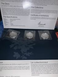 3 Royal Canadian Mint 2011 20 Canoe Pure Silver Coins - Sealed