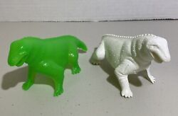 Tootsietoy Or Ajax Matched Set Of 2large Hollow Dinosaurs - Marx Mpc