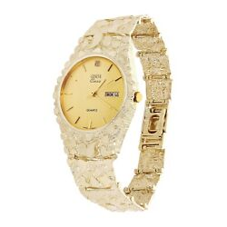 14k Yellow Gold Nugget Link Geneve Wrist Watch With Diamond 7.5-8 56 Grams