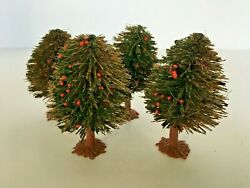 Vintage Bottle Brush Christmas Trees Small Mini Holiday Decorations 3 Red Berry