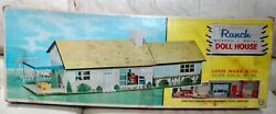 Marx Toys Ranch Doll House 4737 Modern Metal Doll House Suburban 1950s Used Oop