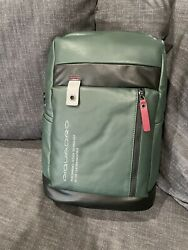 PIQUADRO Backpack Leather Green New w Tag $159.00
