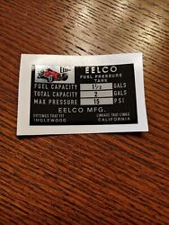 Genuine Eelco 1 1/2 Fuel Tank Data Decal Gasser Fit Moon Official Reproduction