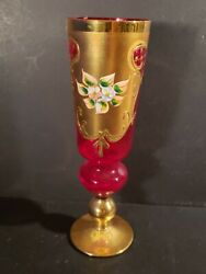 Salviati Murano Enameled Glass Cranberry Gold Cup Goblet 8 7/8h Rare Vintage