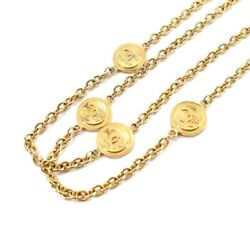 Round Type Coco Mark Long Necklace Gold Vintage Accessory 90125447