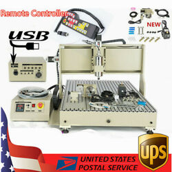Usb 4 Axis Cnc 6090t Router Engraver Metal Wood Milling Cutting Machine+rc 2200w