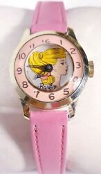 1964 Barbie Watch Collectible Mechanical Gold Case Pink Leather Band Swiss Vtg