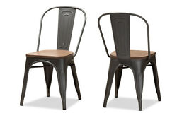 Baxton Studio Henri Vintage Steel Stackable Dining Chair Set Of 2