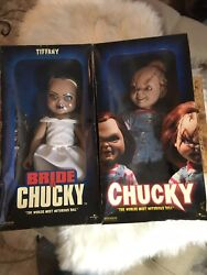 """Chucky Doll And Bride Of Chucky  14"""" Set Side Show Collectible Authentic"""