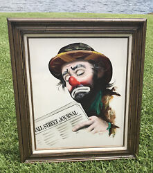 Rusty Rust Emmett Kelly With Wall Street Journal Oil Painting 1983 Rare 189/250