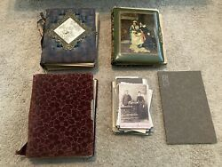 Rare Antique Family Photo Post Card Album Amazing Book With Photos Huge Lot