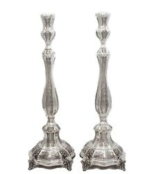Tall 925 Sterling Silver Handcrafted Leaf Applique Ornate Round Candlesticks