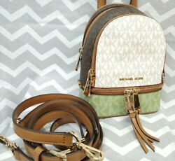 Michael Kors RHEA XS CONVERTIBLE Messenger BACKPACK Signature MK White Green NEW $189.99