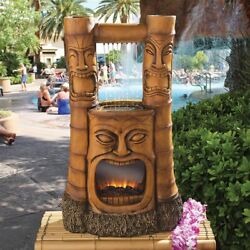 Tiki Gods Of Fire And Water Fountain With Pump And Led Lights