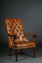 Classic English Chesterfield Armchair Leather Cognac B-178