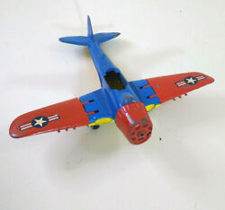 Vintage Hubley Toy Airplane 495 Fighter Bomber Plane Blue Red Yellow