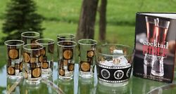 Vintage Cocktail Highball Glasses With Ice Bucket, Cera Black And Gold Coin