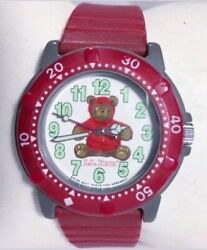 Ll Bean Watch Bear Q868 Red Band Gray Case White Face Collectible Swiss Easy Rea