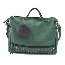 Womens Studded Tote Handbags Top Punk Casual Shoulder Bags Hobo Rocker Green $43.72