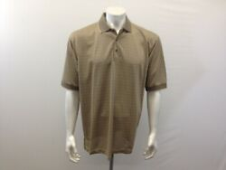 La Veen Men's Air-cool Tynel Large Short Sleeve Gold Black Dotted Polo Shirt
