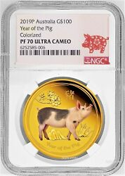 2019 Australia Proof Colored Gold 100 Lunar Year Of The Pig Ngc Pf70 1oz Coin