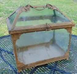 Vintage Antique Arts And Crafts Style Metal Glass Terrarium Painted Brown 1