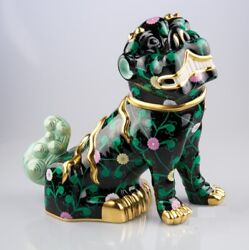 Herend Fo-dog, Big Sn15295 Special Black And Lladro 01007262 Gold Cactus New
