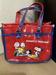 1966 Vintage Peanuts Red Vinyl Purse Red Bag Blue Accents Snoopy And Friends