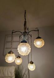 Vtg 5 Light Opalescent Glass Globe Swag Mid Century Hanging Lamp Plug In