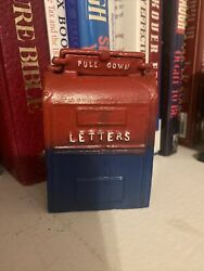 Vintage Cast Iron Mail Box Letters Coin Bank Mailbox 4