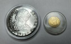 Two Spanish Authentic Old Coins. 8 Silver Reales And Half Gold Escudo 1786