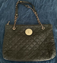Dkny Black Quilted Buttery Soft Leather Handbag Adjustable Gold Chain Straps