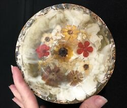 Soap Dish Fresh Fields Pressed Dried Flowers Honey Marbled Acrylic Mint