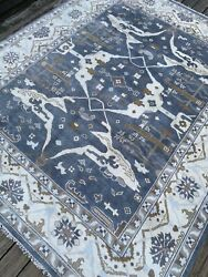 Fine Quality Modern Oushak Rug Handmade In India, Blue And White, Soft Pile, 8x10