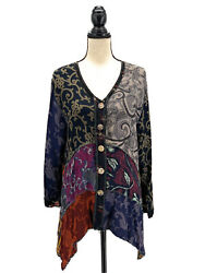 Nothing Matches Womens Mixed Patterns Tunic Blouse 2 Large Long Sleeves