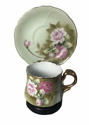 Vintage Lefton Demitasse Cup And Saucer With Stand Hand Painted
