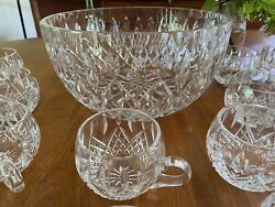 Rare Custom Cut Crystal Waterford Design Punch Bowl And 22 Cups Germany