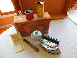 Vintage Coleman Model 8a Gas Iron With Box Pump Fuel Cans Paperwork