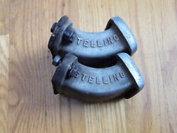 Pair Of 1960s Stelling Aluminum Valve Cover Breathers Stellings Chevy Ford Mopar