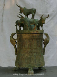 24 Old China Bronze Ware Dynasty Palace 5 Bull Oxen Bird Handle Drinking Vessel