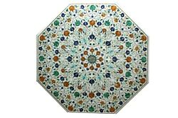 36 Inches Marble Meeting Table Top Inlay With Multi Stones Art Dining Table Top