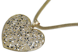 Italian 14k Gold Modern Heart Pendant And Rope Chain Pp002ywandcc075y